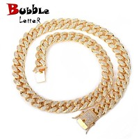 12mm Iced Zircon Cuban Necklace Chain Hip hop Jewelry Gold Color Copper Material CZ Clasp Mens Necklace Link 18-28inch