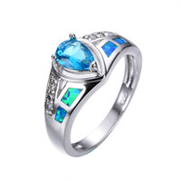 Size 6/7/8/9 Jewelry 2015 New Style Ocean Blue Fire Opal Band 925 Silver Filled Sweet Heart Aquamarine Engagement Rings RS0010