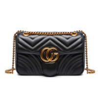 """Gucci"" Women Simple Fashion Letter Metal Chain Single Shoulder Messenger Bag Square Bag"