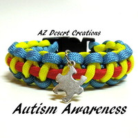 Autism Awareness Survival Bracelet with Puzzle Piece Charm Paracord