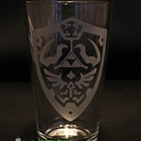 Legend of Zelda Inspired Hylian Shield Pint Glass