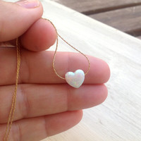 heart necklace, gold necklace, opal heart necklace, heart necklace, opal necklace, glistening opal -009