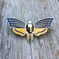 Atropos Enamel Pin With Swarovski Crystal Skull