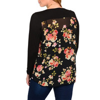 Plus Size Exaggerated Cowl Neck Floral Print Back Top in Black & Multi-Color