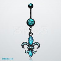 Blackline Fleur De Lis Belly Button Ring