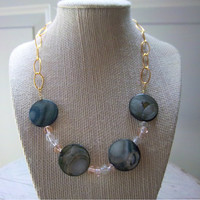 Storm Gray Shell and Pink Glass Bead Necklace