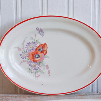 Vintage Universal Pottery Red Poppy Poppies Platter - 1940's