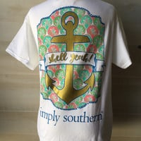 Simply southern white anchor shirt