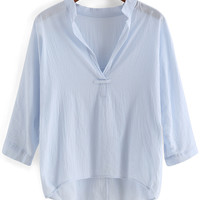 Light Blue V-Neckline 3/4 Sleeve Blouse