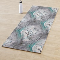 Tree Impression Aqua Teal Gray Yoga Mat