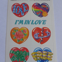 Closing sale - vintage I'm in love  postcard with stickers - 1989