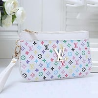LV Louis Vuitton Monogram Canvas Zip Clutch Bag