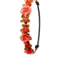 Coral Flower Crown Head Wrap by Charlotte Russe