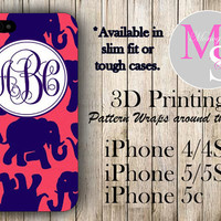 Monogram iPhone Case Personalized Phone Case Lilly Pulitzer Inspired Monogrammed iPhone Case, Iphone 4S Iphone 4, iPhone 5S, iPhone 5C #2151