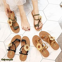 Fashion hot leisure sunflower beach shoes women's shoes tendon sole toe slippers wearing flat sole sandals