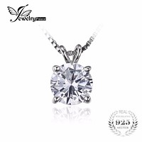 JewelryPalace Classic Round 1ct Solitaire Pendant 925 Sterling Silver Jewelry For Women Not Include a Chain