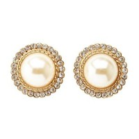 Rhinestone-Trimmed Pearl Earrings by Charlotte Russe - Gold