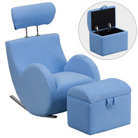 Flash Furniture HERCULES Series Light Blue Fabric Rocking Chair with Storage Ottoman [LD-2025-LTBL-GG]