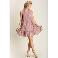 Sweet Spring Lace Dress in Blush