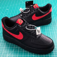 Nike Air Force 1 Low Black Red Sport Shoes - Sale