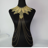 Gold Body Chain Necklace Lace Flower Collares Sexy Body Chains Women  Lace Necklace Elegant Party Jewelry