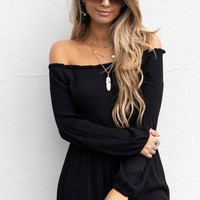 Much Obliged Black Off Shoulder Romper