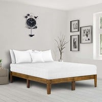 Ecos Living 14 Inch Modern Solid Wood Platform Bed, Wood Bed Frame, Classic, Natural Brown, Beds (Queen)