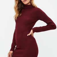 Missguided - Burgundy Knitted Bodycon Jumper Dress