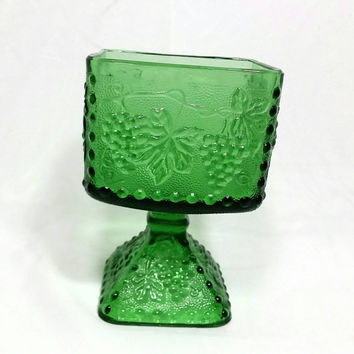 Vintage Green Grape Pattern Pedestal Glass Candy Dish/Grape Vine Decorative Footed Bowl
