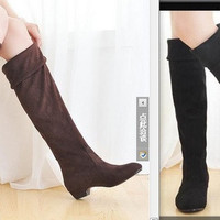 WOMENS BROWN KNEE HIGH HEEL PLATFORM SLOUCH BOOTS Size US 5-9 = 1697392196