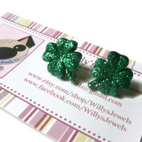 Shamrock Stud Earrings. Saint Patrick's Day. Green Glitter Coating. Silver Plated Hypoallergenic Posts.