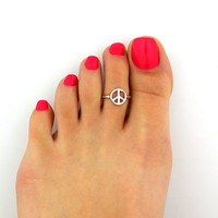 Fashion Toe Ring Simple Peace Love Open Adjustable Foot Jewelry Beach Jewelry