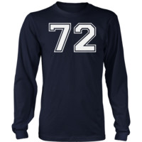 Men's Vintage Sports Jersey Number 72 Long Sleeve T-Shirt for Fan or Player #72