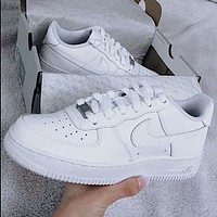 Nike Air Force 1 Hot Sale Couple Pure White Sneakers Shoes-1