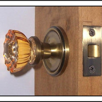 Door Knob Set, Depression Amber Crystal, Ready to Instal on Standard Pre-drilled Doors,Solid Brass Knobs coated in Antique Brass Finish