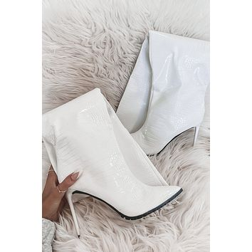 Make It Right White Leather Croc Boots