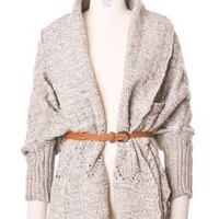 Tassels Hand-knit Cardigan with Belt in Grey - Tops - Retro, Indie and Unique Fashion