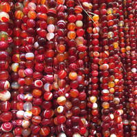 red agate smooth round beads - red bracelet beads -red semi precious stone - wholesale jewelry beads -necklace making supplies  -15inch