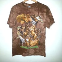 Vintage Horse ANIMAL TSHIRT Horses Shirt Tie Dye by GILDAN Hipster Soft Grunge Western Nature Color Brown Size - Medium