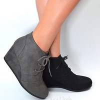 Women's Ankle Boots Wedge Heel Lace Up Booties Black Faux Suede Size 5.5-11 New