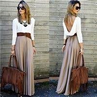 White and Khaki Long Sleeve Backless Maxi Dress
