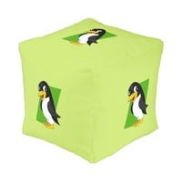 Cute penguin cartoon cube pouf