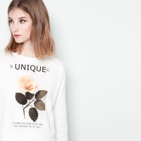 "White ""UNIQUE"" & Floral Print Sweatshirt"