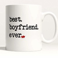 Best Boyfriend Ever 11 Oz Mug with Handle for Coffee or Tea Romantic Couple Gift Idea © Custom Engraved Glasses By Stocking Factory