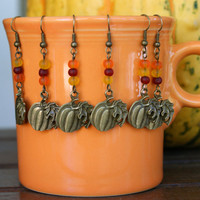 Antique Bronze Pumpkin Earrings with Frosted Glass Bead Accent Thanksgiving Earwires Autumn Dangle Earrings
