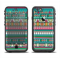 The Tribal Vector Green & Pink Abstract Pattern V3 Apple iPhone 6 LifeProof Fre Case Skin Set