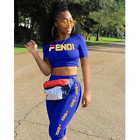 FENDI Women Casual Fashion Shirt Top Tee Shorts Set Two-Piece Sportswear