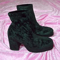 vintage 90s black crushed velvet boots cyber grunge club kidd platform boot shoes chunky heel ankle boot size US 9