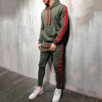 Tracksuit men new brand autumn winter hooded sweatshirt +drawstring pants male stripe patchwork hoodies