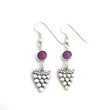 Grape Earrings, Wine Lover Gift, Fruit Jewelry, Novelty Earrings, Purple Crystal, Hostess Gift, Wine Tasting, Silver Earrings for Women, 553